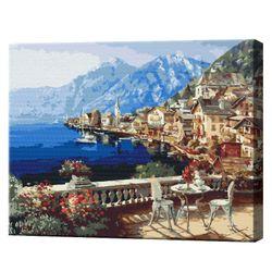 Orășel pe lângă Alpi, 40х50 cm, pictură pe numere  BS4790
