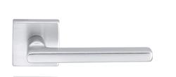 Дверная ручка на розетке Baku матовое серебро + накладка под цилиндр