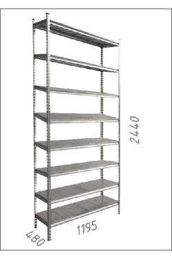Стеллаж металлический с металлической плитой Gama Box 1195Wx480Dx2440H мм, 8 полок /MB