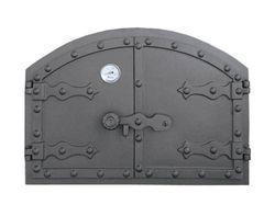 Дверца чугунная глухая двустворчатая с термометром HUNGARIAN