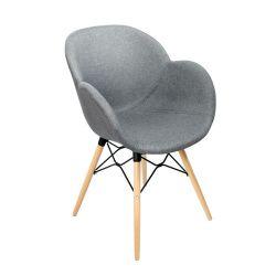 Пластиковый стул с обивкой, деревянные ножки 600x580x840 мм, темно-серый
