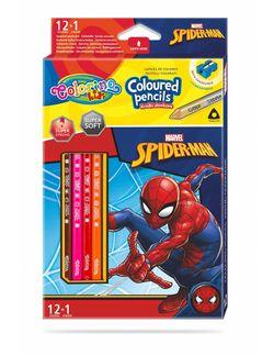 Набор цветных карандашей + 1 карандаш с 2 цветами серебро / золото - Colorino Dinsey SpiderMan