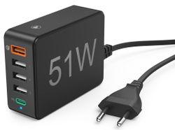 cumpără Încărcător cu fir Hama 210536 51 Watt, 5-Way (1x QC3.0, 3x USB-A, 1x USB-C PD) în Chișinău