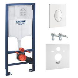 Set RAPID SL 4in1 pentru WC suspendat (cisternă, elemente de fixare, buton alb - culoare dublă 38505SHO, alb, cu sigiliu