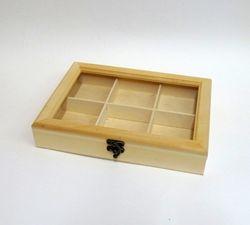 Cutie din lemn si sticla organica cu 6 compartimente 5x19x27cm