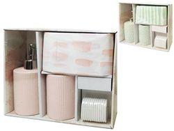 Набор для ванной керамический 3 ед.+ шторка 180X180cm, 3 цв
