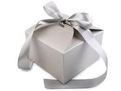 Gift box with ribbon / silver