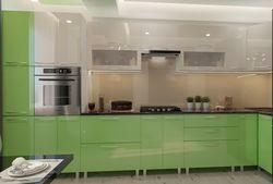 Bucătărie Bafimob Corner (High Gloss) 4.1x0.9m Eco +ball closer Green/Beige