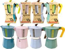 Кофеварка на 6 чашек Pedrini алюминиевая разных цветов