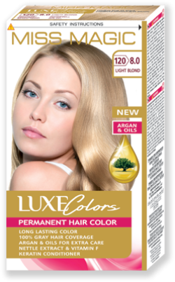 Vopsea p/u păr, SOLVEX Miss Magic Luxe Colors, 108 ml., 120 (8.0) - Blond deschis