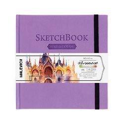 Sketchbook pentru acuarelă Malevich,Waterfall, violet 200 gm 14,5х14,5 cm, 40 foi