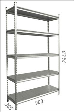 Стеллаж металлический с металлической плитой -Gama Box 900Wx305Dx2440 Hмм, 5 полок/MB