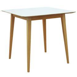 Стол с деревянной поверхностью и деревянными ножками, 800x800x750 мм, белый