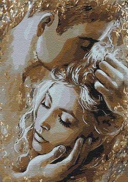 Pictura pe numere 35x50 Îmbrățișare de aur  4563