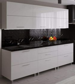 Bucătărie Bafimob Blum (High Gloss) 2.4m White