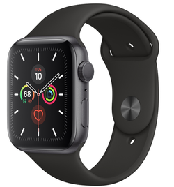 Smartwatch Apple Watch Series 5 44mm /Space Grey Aluminium Case With Black Sport Band, MWVF2 GPS