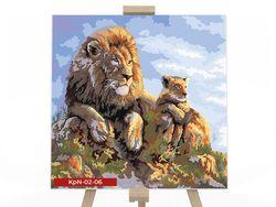 Картина по номерам 40х40 Львы в засаде