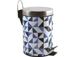 Ведро для мусора с педалью 3l Calula голубое, нерж сталь