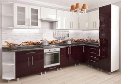 Bucătărie Bafimob Corner (High Gloss) 3.4x1.7m White/Bordo