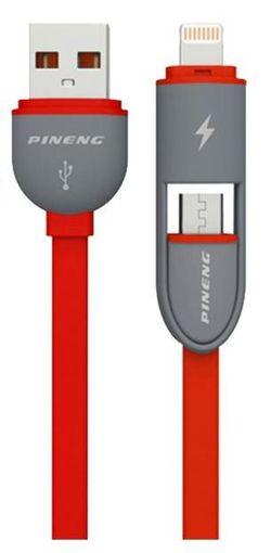 cumpără Cablu telefon mobil Pineng PN-301 Rapid Lightning/Micro USB 2in1 (rosu) în Chișinău