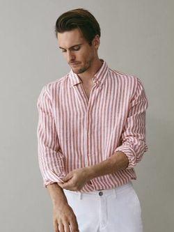 Рубашка Massimo Dutti Белый в полоску 0107/008/615