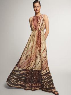 Платье Massimo Dutti Бежевый с принтом 6616/847/926
