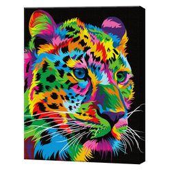 Радужный леопард, 40х50 см, картина по номерам Артукул: GX35773
