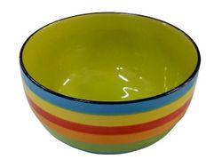Salatiera 12.9cm dungi aprinse multicolore (albastra), din ceramica