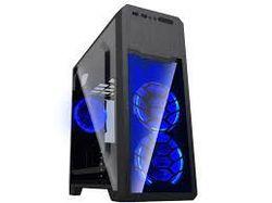 Carcasă ATX GAMEMAX G563, fără alimentator, 3x120mm, LED albastru, panou complet transparent, USB3.0, negru