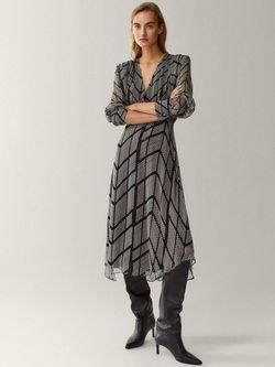 Платье Massimo Dutti Черный в крапинку 6647/837/800