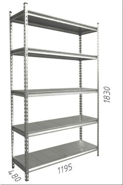 Стеллаж металлический с металлической плитой Gama Box 1195Wx480Dx1830 Hмм, 5 полок/MB