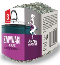 Губка металлическая для мытья посуды 3шт Anna Zaradna