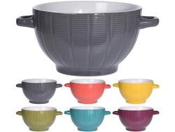 Cana pentru supa 680ml cu doua manere Segment, D18cm, 6 culori