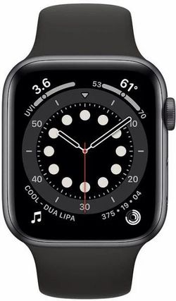 Apple Watch Series 6 GPS, 44mm, Aluminum Case with Black Sport Band, M00H3 GPS, Space Gray