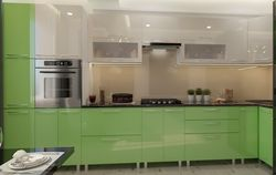 Bucătărie Bafimob Corner (High Gloss) 4.1x0.9m Eco +tandembox Green/Beige