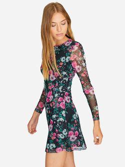 Платье Stradivarius Черный в цветочек 6389/655/531