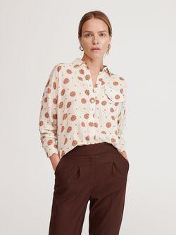 Блуза RESERVED Бежевый с принтом ye984-mlc