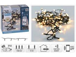 Luminite de sarbatoare fir 240LED 24m, regulare internet, 8 regime, alb-cald