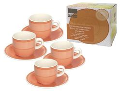 Set cani 4buc 220ml pentru ceai cu farfurii Gypsy Orange, in cutie cadou