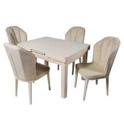 Столовый набор DT A 30 слоновая кость + 4 стула DC 6018 велюр слоновая кость
