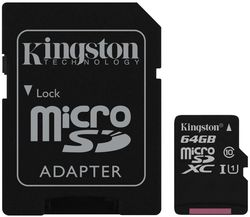 купить Флэш карта памяти Kingston SDCS/64GB, microSD Class10 UHS-I + SD adapter в Кишинёве