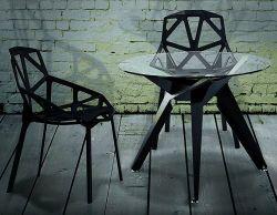 Masă rotundă cu suprafaţa din sticlă, picioare din metal, 900x750 mm, negru