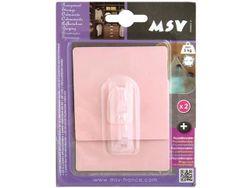 Крючки самоклеющиеся 2шт квадрат 8cm, розовые, пластик