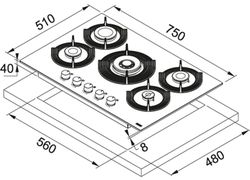 Plită incorporabilă cu gaz Franke FHMF 755 4G DC C OY