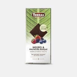 Шоколад темный со стевией и лесными ягодами без глютена Torras 125г