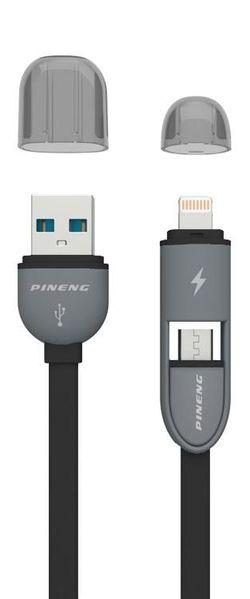 купить Кабель для моб. устройства Pineng PN-301 Rapid Lightning/Micro USB 2in1 (negru) в Кишинёве