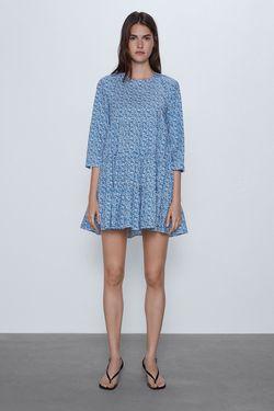 Платье ZARA Белый/синий 4786/065/400