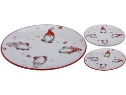 Тарелка рождественская D24cm, H2cm Гномы, керамика, 2 цвета