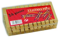 Set cârlige rufe din lemn 24buc