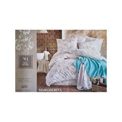 Lenjerie de pat 2pers NH Margarita bumbac, plapuma, cearsaf, 2 huse p/u perna,argintiu/albastru-desc